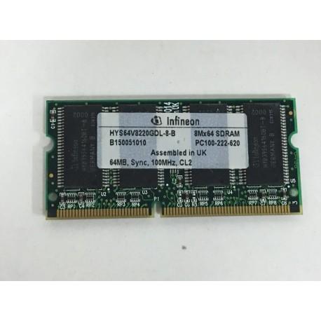 Memoria para portatil 64 mb pc100 sdram Infineon HYS64V8220GDL-8-B